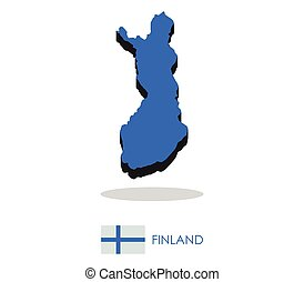 finland map with flag