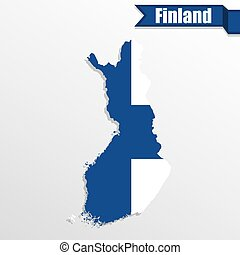 Finland map with flag inside and ribbon
