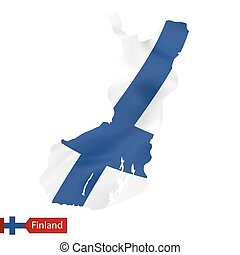 Finland map with waving flag of Finland.