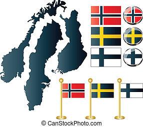finland, mapas, noruega, suécia