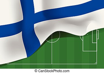 Finland national waving flag on football field background