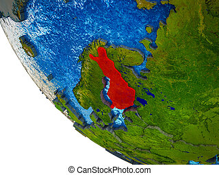 Finland on 3D Earth - Finland on model of Earth with country...