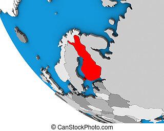 Finland on 3D globe - Finland on simple 3D globe. 3D...