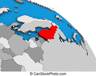 Finland on 3D globe - Finland on simple blue political 3D...