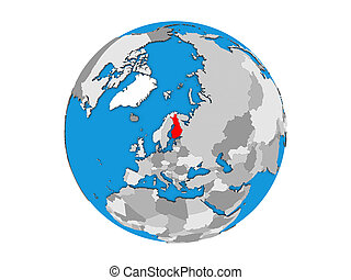 Finland on 3D globe isolated - Finland on blue political 3D...