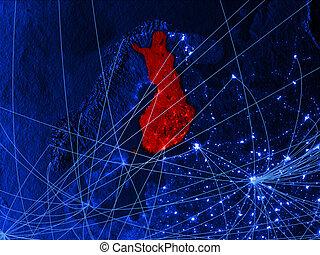Finland on blue blue digital map - Finland on blue digital...