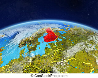 Finland on Earth from space - Finland on planet Earth with...