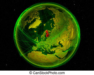 Finland on Earth with network - Finland from space on planet...