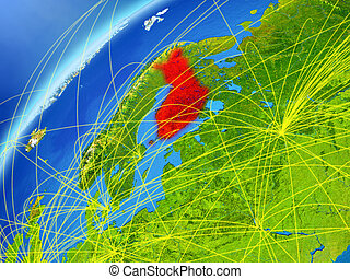 Finland on Earth with network - Finland on model of planet...