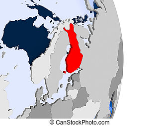 Finland on globe - Finland in red on model of political...