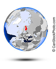 Finland on globe - Finland on political globe with shadow...