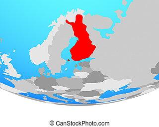Finland on globe - Finland on simple political globe. 3D...