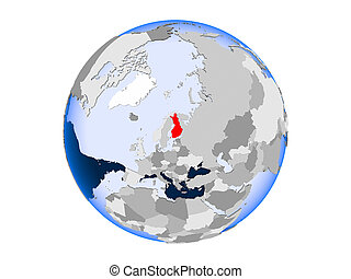 Finland on globe isolated - Finland highlighted in red on...