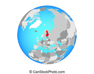 Finland on globe isolated - Finland on blue political globe....