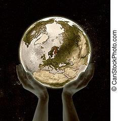 Finland on globe win hands - Finland on globe in hands in...
