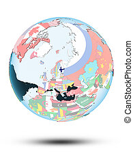 Finland on globe with flags - Finland on political globe...