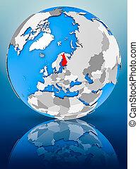 Finland on political globe - Finland on globe reflecting on...