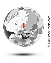 Finland on political globe - Finland on globe with...