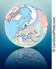 Finland on political globe with flags - Finland on political...