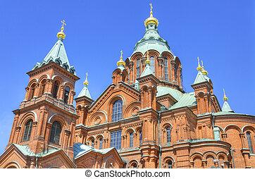 finland., orthodoxe, helsinki, célèbre, cathédrale, repère, uspenski