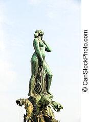 finland., quadrado, femininas, helsínquia, -, pelado, havis, amanda, estátua fonte, kaartinkaupunki, mercado