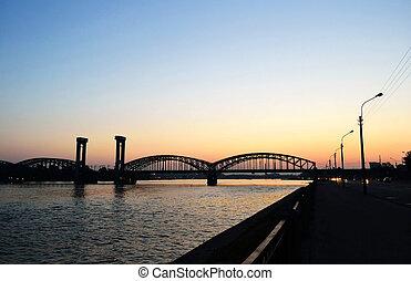 Finland Railway Bridge at sunset