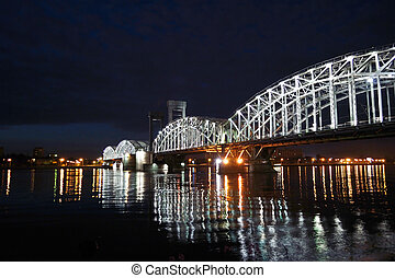 Finland Railway Bridge at white night, St.Petersburg, Russia