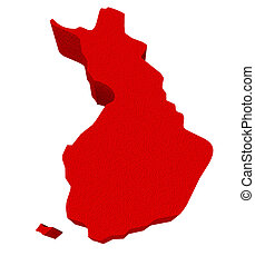 Finland Red 3d Europe Map Isolated