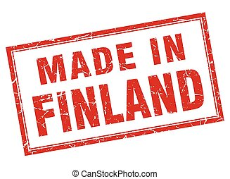 Finland red square grunge made in stamp