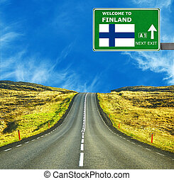 Finland road sign against clear blue sky