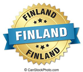Finland round golden badge with blue ribbon