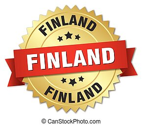 Finland round golden badge with red ribbon