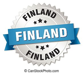 Finland round silver badge with blue ribbon