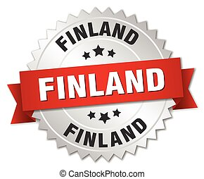 Finland round silver badge with red ribbon