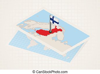 Finland selected on map with isometric flag of Finland.