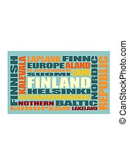 finland tags cloud - Finland theme relative words cloud....