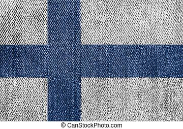 Finland Textile Industry Or Politics Concept: Finnish Flag Denim Jeans
