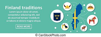 Finland traditions banner horizontal concept. Flat...