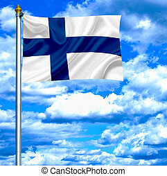 Finland waving flag against blue sky