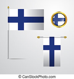Finland waving Flag design with badge vector