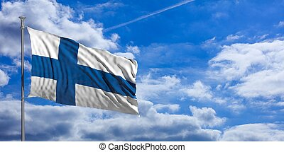Finland waving flag on blue sky. 3d illustration