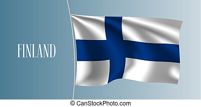 Finland waving flag vector illustration. Iconic design element as a national Finish symbol