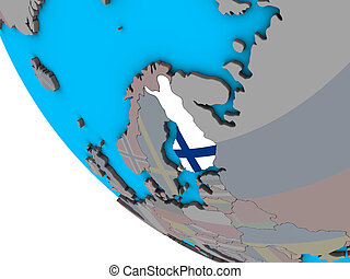 Finland with flag on 3D globe - Finland with embedded...