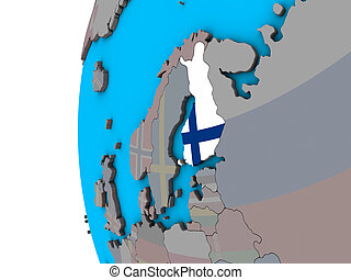 Finland with flag on 3D globe - Finland with national flag...