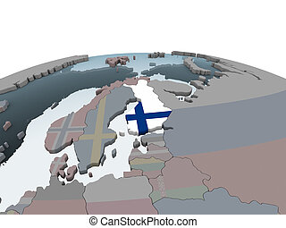 Finland with flag on globe - Finland on political globe with...