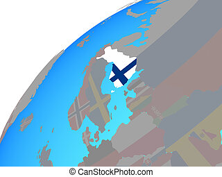 Finland with flag on globe - Finland with embedded national...