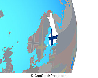 Finland with flag on globe - Finland with national flag on...