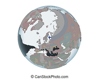 Finland with flag on globe isolated - Finland on political...