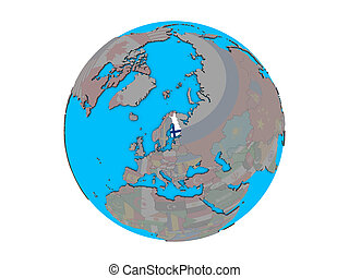 Finland with flag on globe isolated - Finland with embedded...