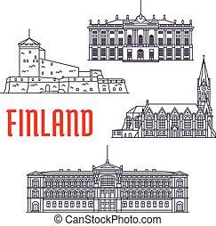 finlande, danemark, repères, voyage, icône